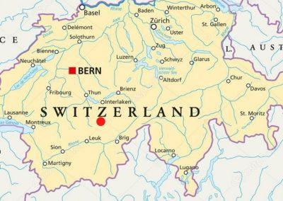 Kaart van Zwitserland waar de hut Bluemlisalphutte op aangegeven is